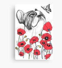 Pug in flowers Leinwanddruck