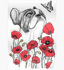 Pug in flowers Poster