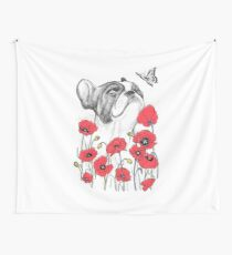 Pug in flowers Wall Tapestry