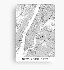 New York White Map Canvas Print