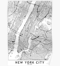New York White Map Poster