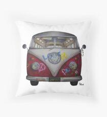 1957 Volkswagen Van- Hippie Throw Pillow