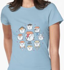 The 9 Lives of David Meowie Women's Fitted T-Shirt