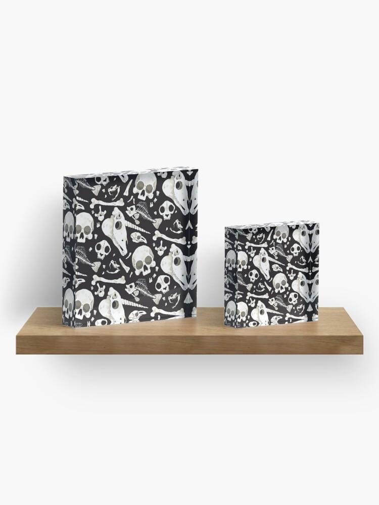 Alternate view of black Skulls and Bones - Wunderkammer Acrylic Block