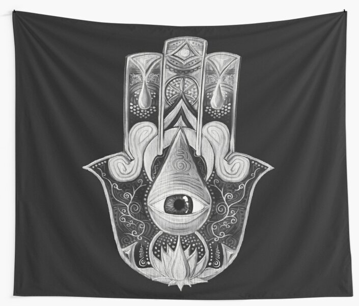 Hamsa of Sacred Waters | Black and White by Daniel Watts