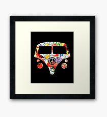 Hippie Camper Hippy VW Van Floral Skull Framed Print