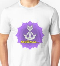 Meditating Cat, mandala and Meomm Sign for yoga T-Shirt