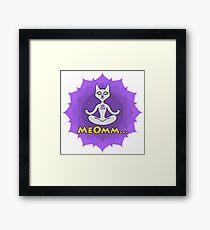 Meditating Cat, mandala and Meomm Sign for yoga Framed Print