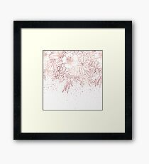 Rose gold hand drawn floral doodles and confetti design  Framed Print