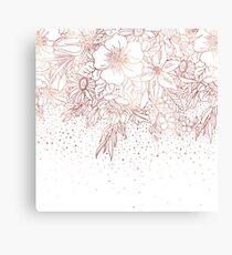 Rosen-Gold Hand gezeichnete Blumengekritzel und -Konfettidesign Leinwanddruck
