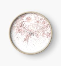 Rose gold hand drawn floral doodles and confetti design  Clock