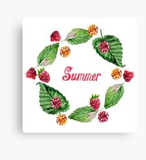 Frame of raspberries and summer lettering. Frame painted in watercolor.  Canvas Print