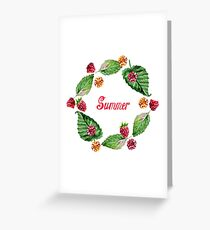 Frame of raspberries and summer lettering. Frame painted in watercolor.  Greeting Card