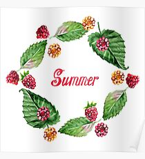 Frame of raspberries and summer lettering. Frame painted in watercolor.  Poster