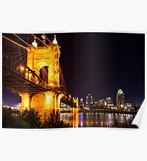 Roebling Bridge and Cincinnati Skyline at Night Poster