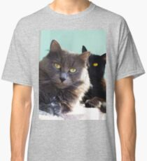 Cats in love. grey and black / photo of cute couple of cats Classic T-Shirt