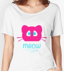 Pink cat head with blue eyes. Meow =) Women's Relaxed Fit T-Shirt