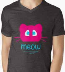 Pink cat head with blue eyes. Meow =) T-Shirt