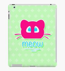 Pink cat head with blue eyes. Meow =) iPad Case/Skin