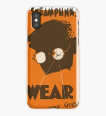 Steampunk - Wear Your Goggles! Safety Poster iPhone Case/Skin