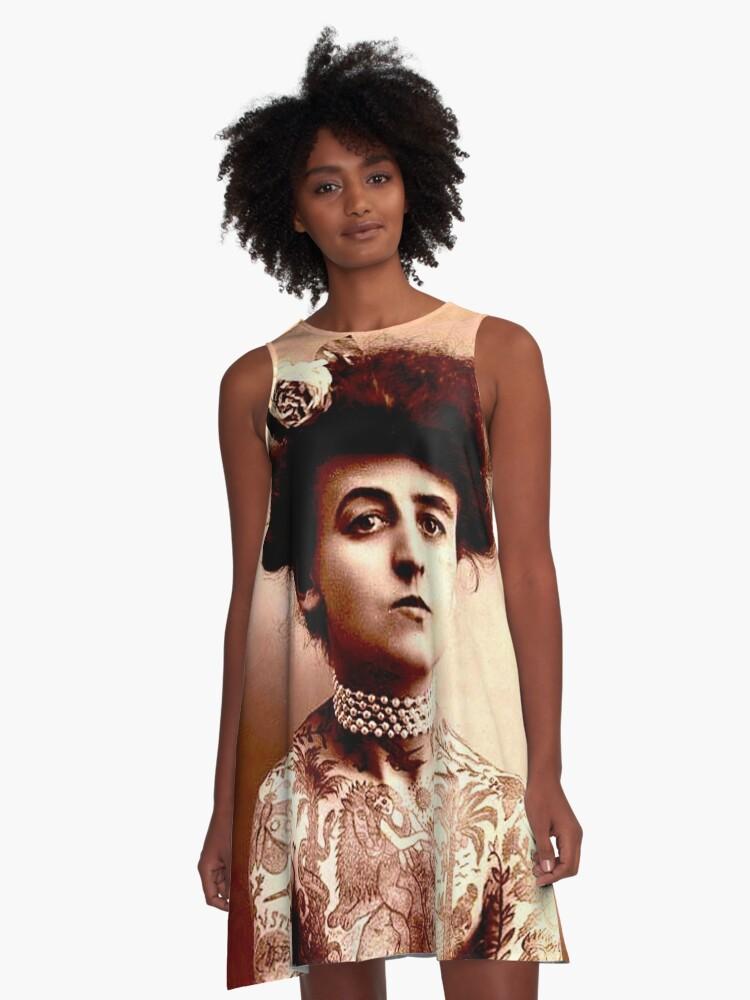 TATTOOED LADY : Vintage Tattoo Photograph Print A-Line Dress Front