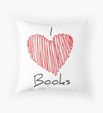 I Heart Books Throw Pillow