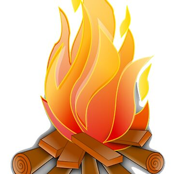 Campfire, Log fire, Fire, Burn, Camping, on white by TOMSREDBUBBLE