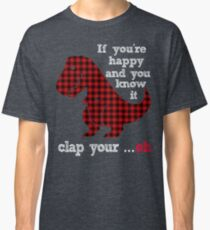 Plaid background patent T Rex If you're happy & you know it clap your Oh Classic T-Shirt