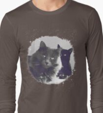 Cats in love. grey and black / photo of cute couple of cats Long Sleeve T-Shirt