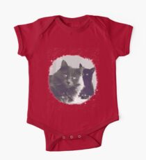 Cats in love. grey and black / photo of cute couple of cats Kids Clothes
