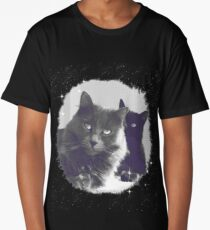 Cats in love. grey and black / photo of cute couple of cats Long T-Shirt