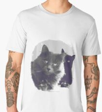 Cats in love. grey and black / photo of cute couple of cats Men's Premium T-Shirt