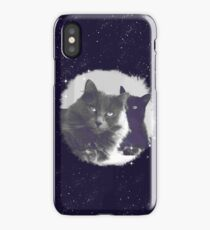 Cats in love. grey and black / photo of cute couple of cats iPhone Case