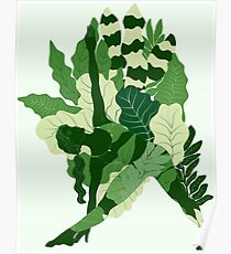 triangle pose with foliage Poster