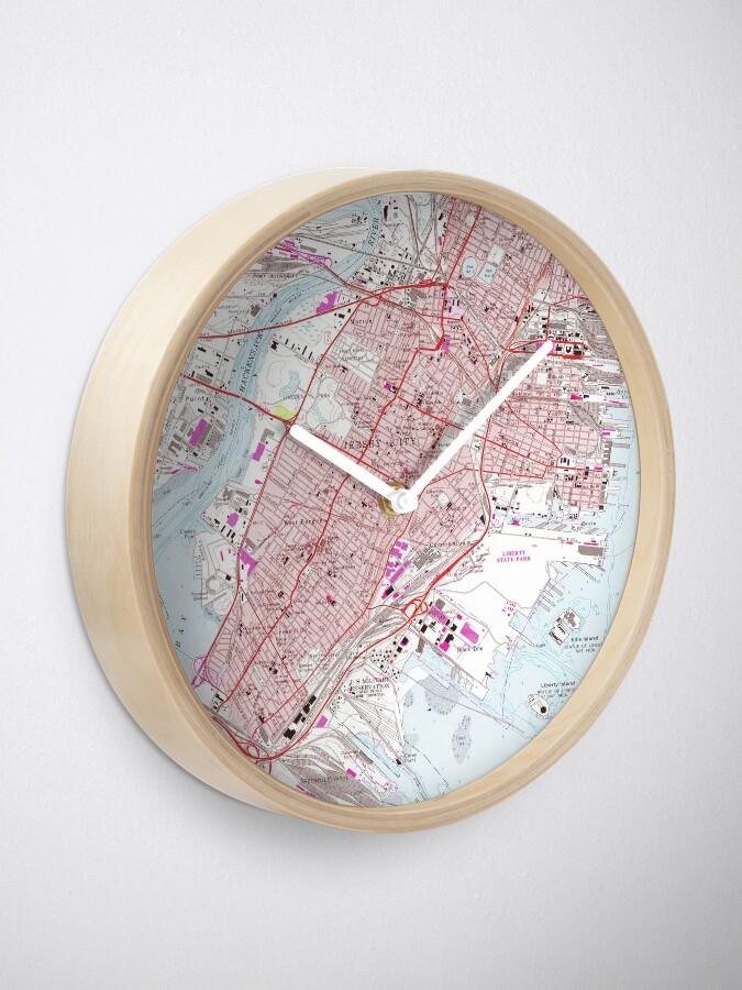 Alternate view of Vintage Map of Jersey City NJ (1967) Clock