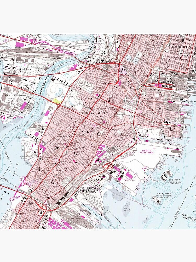 Vintage Map of Jersey City NJ (1967) by BravuraMedia
