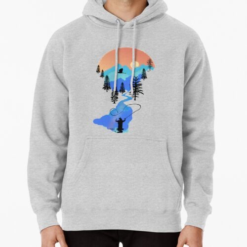 Fly Fishing Mountain Sunset by TeeCreations Hoodie (Pullover)