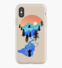 Fly Fishing Mountain Sonnenuntergang von TeeCreations iPhone-Hülle & Cover