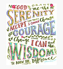 Serenity Prayer Hand Lettered Photographic Print