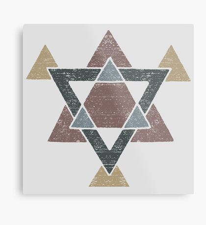 Abstract Western Tribal Geometry with Earth Tones Metal Print