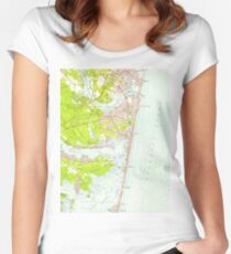 Vintage Map of Point Pleasant NJ (1953)  Women's Fitted Scoop T-Shirt