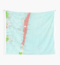 Vintage Seaside Heights NJ Map (1953) Wall Tapestry