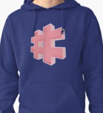 Pink grainy Hashtag Pullover Hoodie