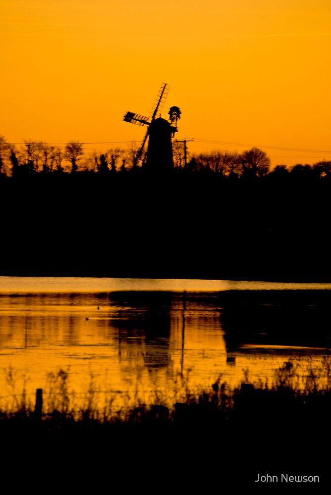 Pakenham Windmill Reflection In Mindsmere by John Newson