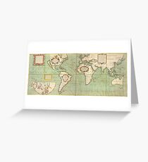 Vintage Map of The World (1702)  Greeting Card