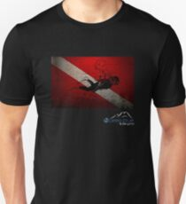 Diver Down Distressed Flag with Diver Image T-Shirt