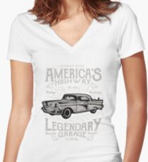 american vintage, car racing, highway tee shirt Women's Fitted V-Neck T-Shirt