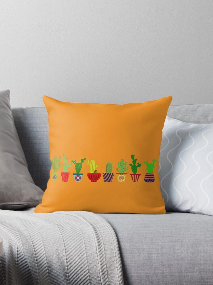 Cactus sobre naranja by redumbrellashop