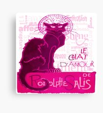 Le Chat D'Amour In Pink With Words of Love Vector Canvas Print