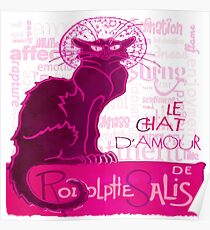 Le Chat D'Amour In Pink With Words of Love Vector Poster